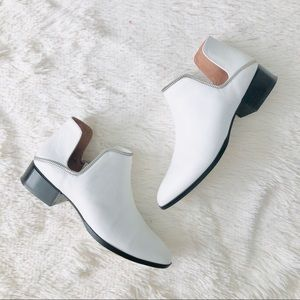 Halogen White Ankle Zipper Trim Flat Bootie 6.5